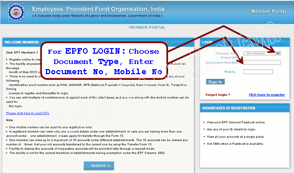 employee provident fund (epfo) e-passbook login page