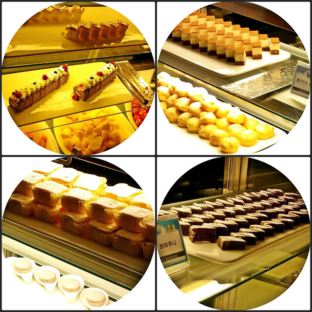 yummy desserts: brownies, Hokaido cupcake,  macaroons, green tea rolls, mango cheese mouse, and cookies. | www.meheartseoul.blogspot.sg