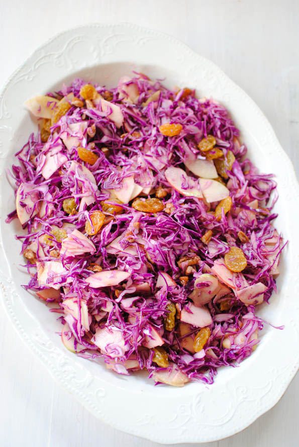 Red cabbage and apple salad with mandarin dressing