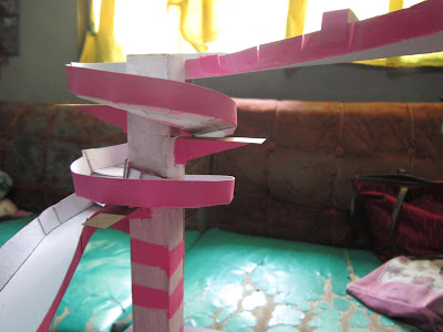 We Painted My Sisters Marble Roller Coaster With Pink And White Stripes