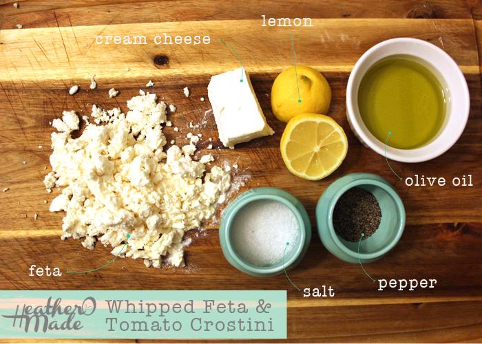 whipped feta & tomato crostini.heatheromade.