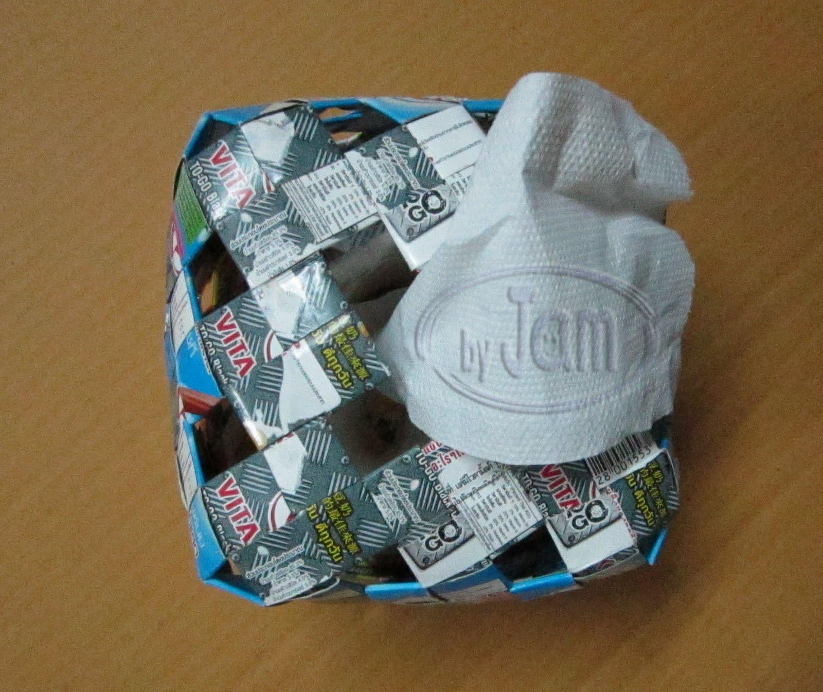 ไอเดียของใช้แล้ว,กล่องใส่ทิชชู จากกล่องนม,กล่องทิชชู กระดาษชำระ ทำจากกล่องนม