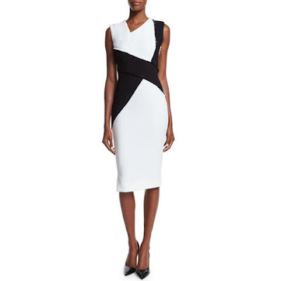grife victoria beckham vestido black and white