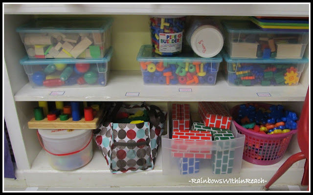 photo of: Preschool Materials Organized on Shelf (Classroom Organization RoundUP via RainbowsWithinReach)