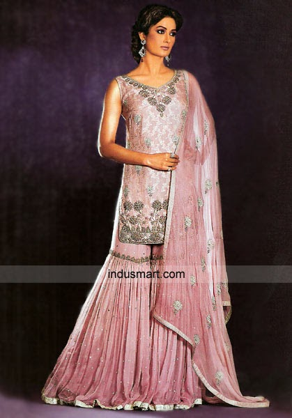 Dusky pink self jamavar chiffon gharara pakistani bridal for Dusky pink wedding dress