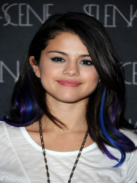 US Winter Fashion: Selena Gomez Blue And Purple Hair 2012