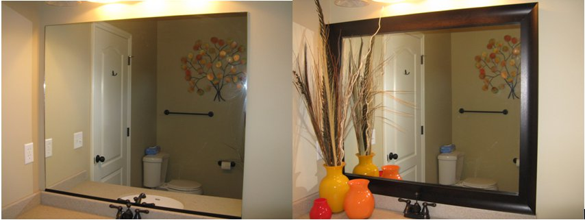 Reflected design before and after pics - Framing an existing bathroom mirror ...
