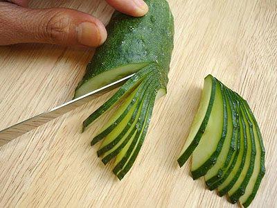 краставица нарязана на пачки