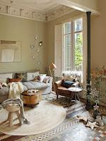 Kamienna podłoga w salonie, skandynawski design aranżacji