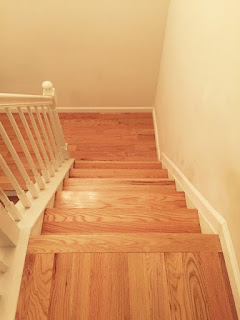 red oak stair tread renovation, Sayreville, NJ