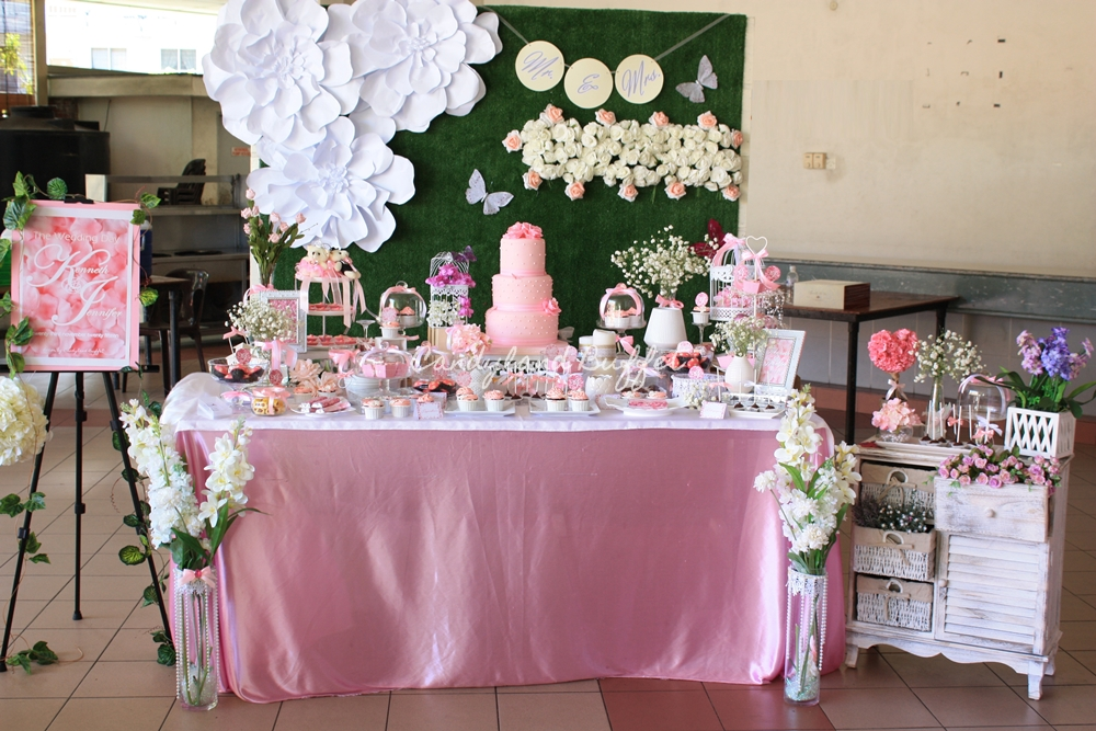 Pink White Wedding Theme Candyland Buffet