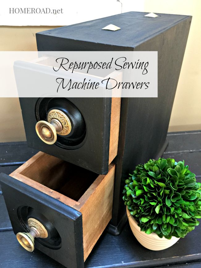 Repurposed Sewing Machine Drawers www.homeroad.net