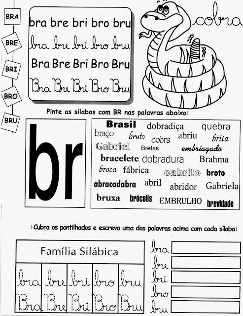 cobra,palavras com BR,sílabas com Atividades com BR.ensino Fundamental, Atividades para imprimir, Alfabetização, Letras, 1º ano.BR,letras BR,