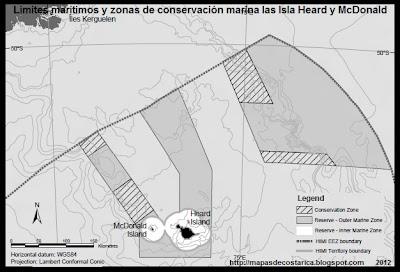 Limites maritimos de Las Islas Heard y McDonald y zonas de conservacion