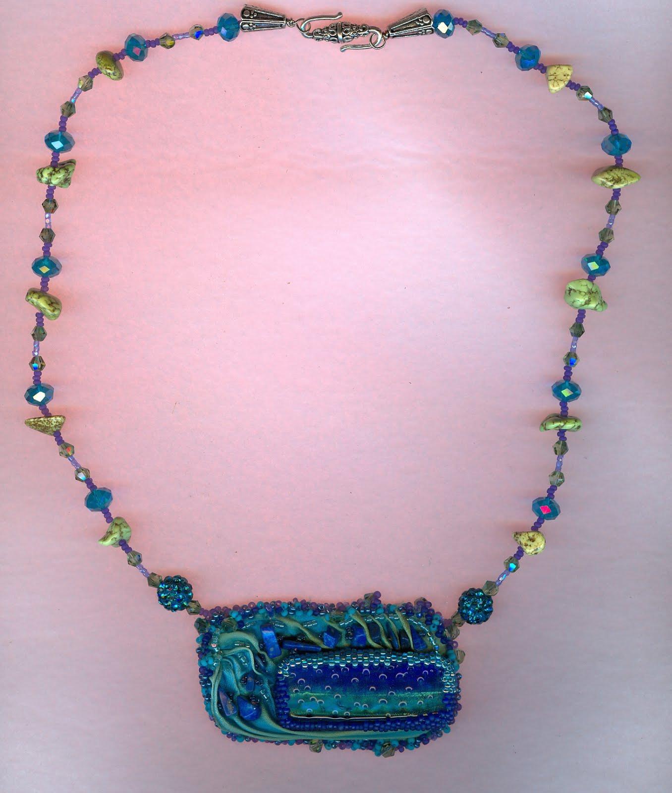 Diachroic glass shibori silk turquoise necklace