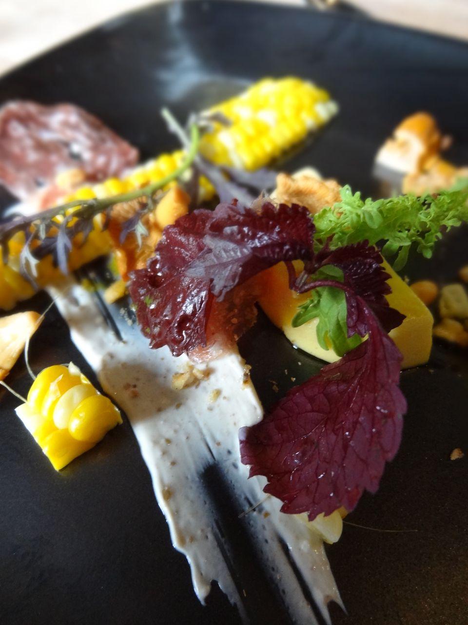 Ontario Corn Panna Cotta served with truffled saucisson, lightly ...