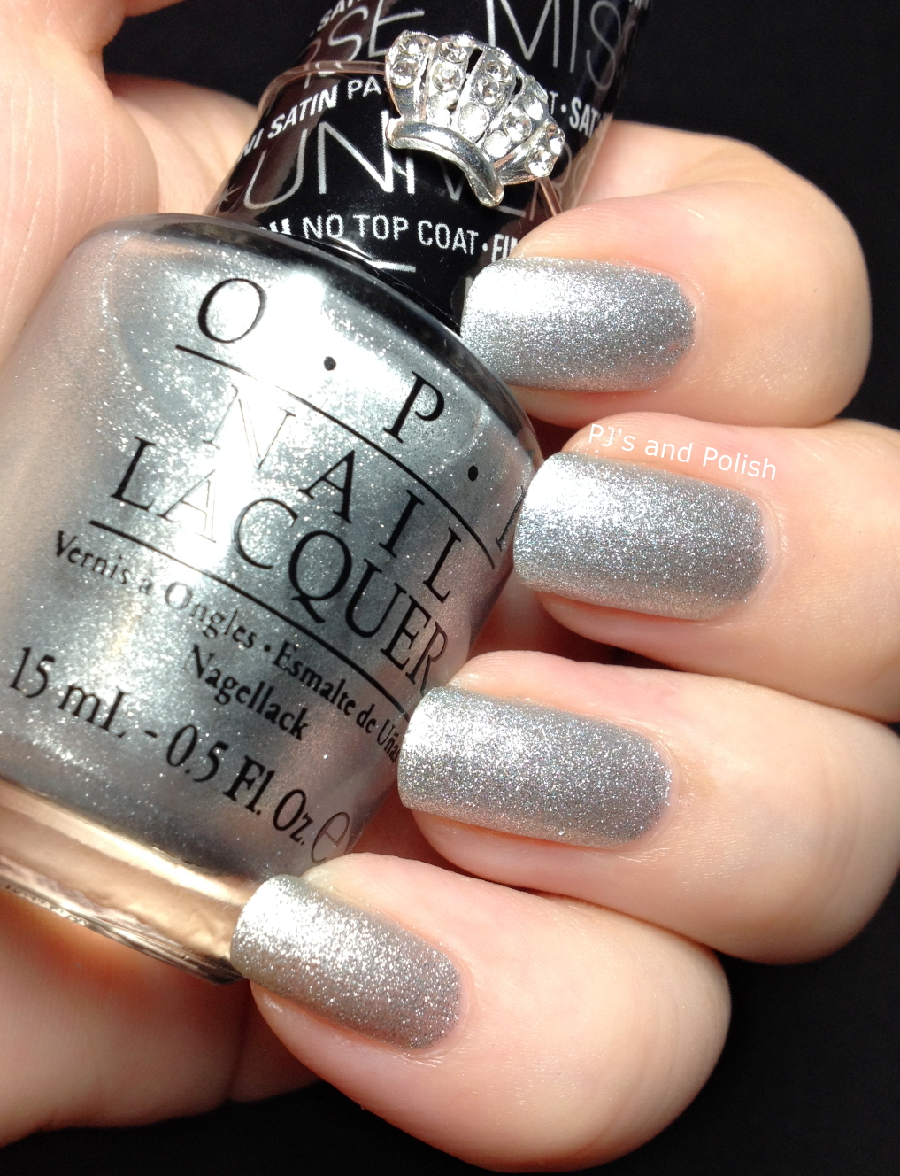 Swatch and Review OPI This Gown Needs A Crown Satin Textured