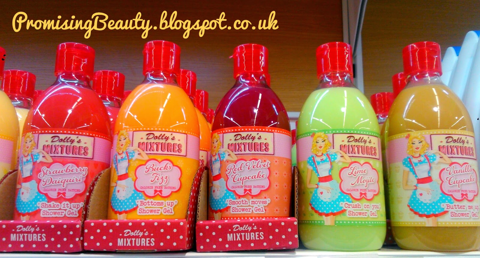 Dollys mixtures shower gel, bubble bath, bucks fizz, red velvet cupcake, lime mojito and vanilla cupcake