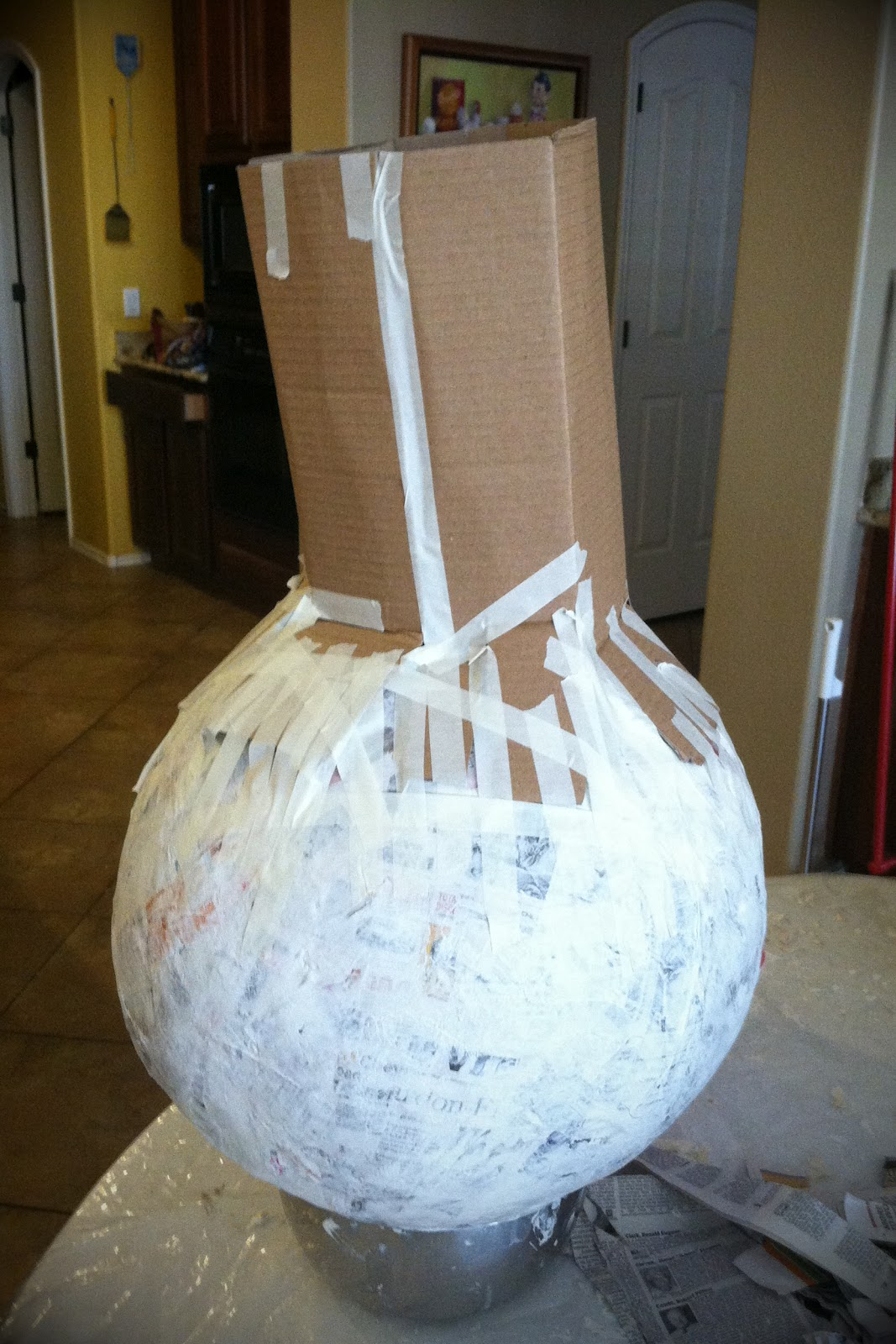 Life and art with glamma fabulous my paper mache pumpkin for Paper mache activities