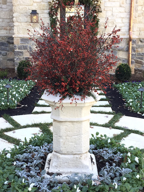 Gorgeous berries in stone urn at Home for Holidays Atlanta Showhouse 2015 - Hello Lovely Studio