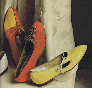 Flat shoes in orange and yellow from a 1960 McCall's magazine.