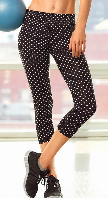 Style Athletics Victoria's Secret VSX Black White Polka Capri Pants Knockout