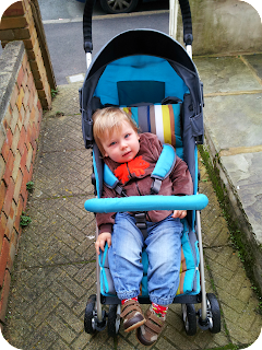 15 month old in stroller, lollipop lane stroller in use