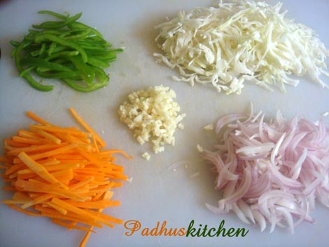 Mixed vegetables for noodles