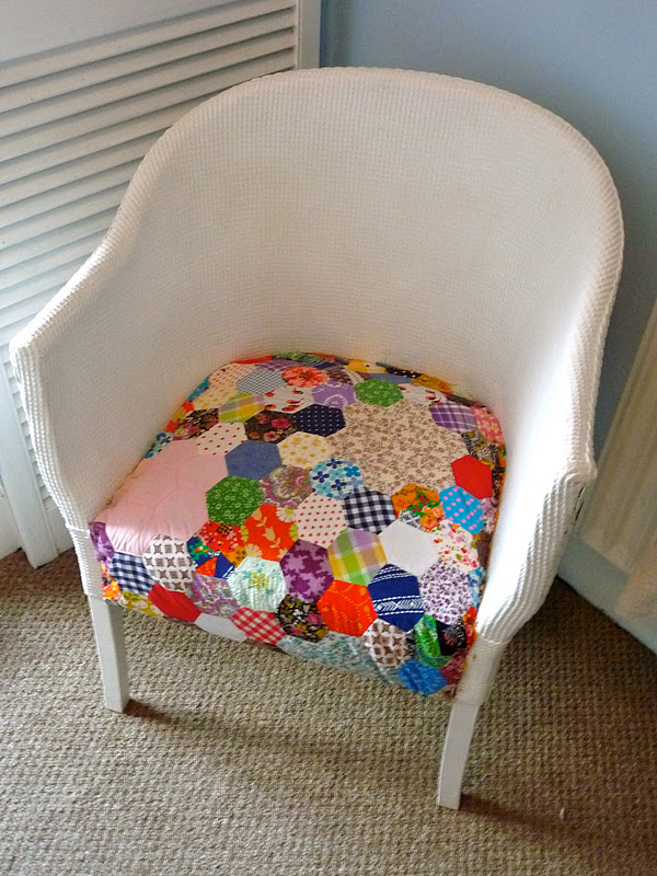 vintage patchwork on my lloyd loom chair kirby jane. Black Bedroom Furniture Sets. Home Design Ideas
