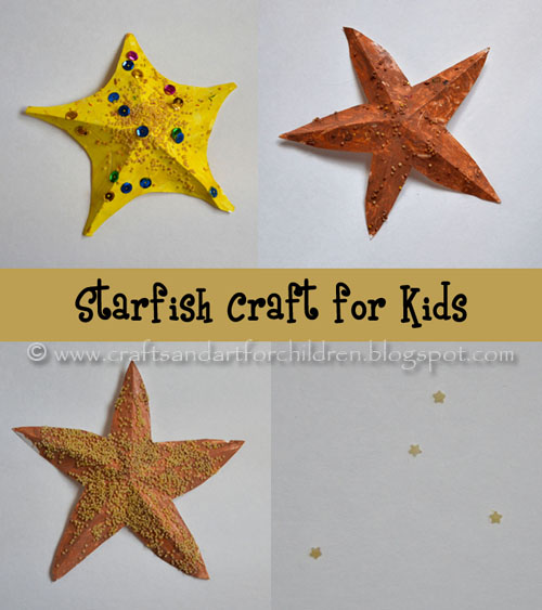 Starfish Craft for Kids using star pasta