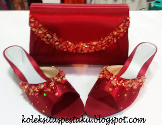 Set Matching Tas Pesta dan Sepatu Maroon Mewah