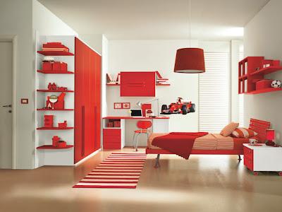 habitación rojo blanco niña