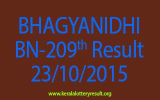 BHAGYANIDHI BN 209 Lottery Result 23-10-2015