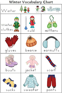Making and Writing Winter Sentences for Kindergarten vocabulary and sentence work