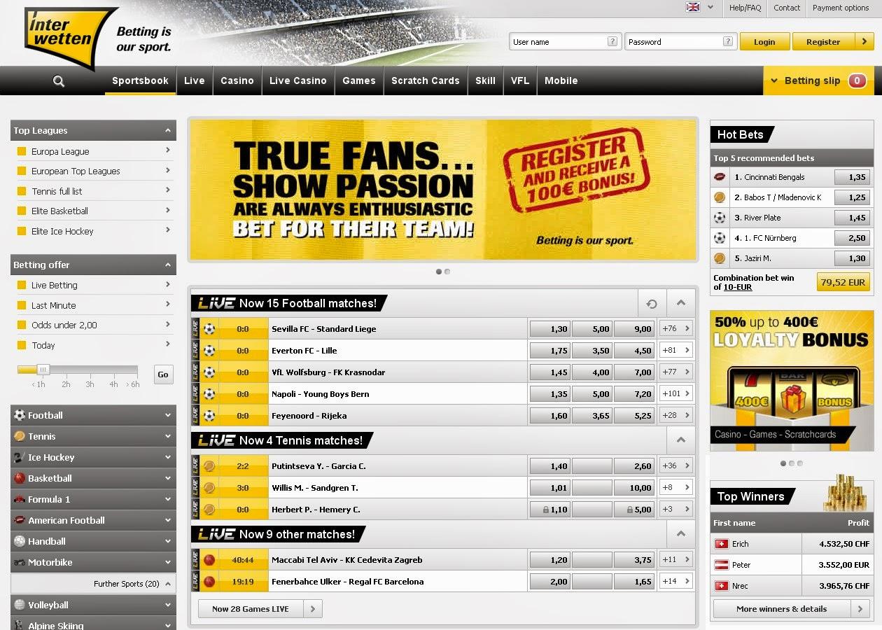 Interwetten Sportsbook Screen