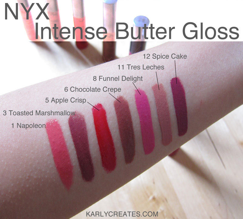NYX Intense Butter Gloss swatches - KarlyCreates.com