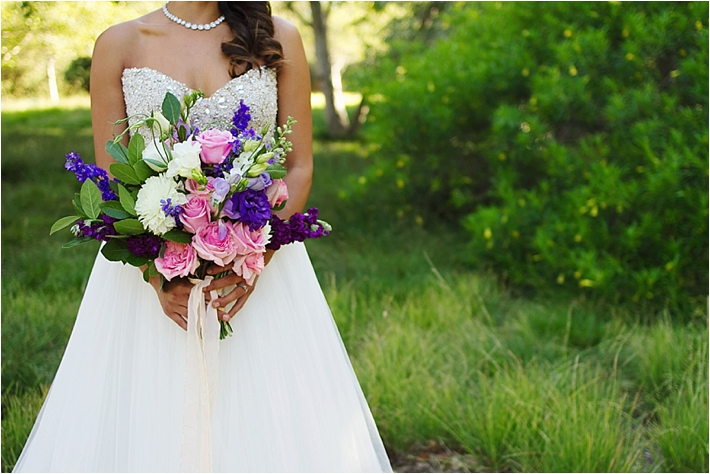 Pink and Purple Wedding Bouquet by Florals by Isabelle