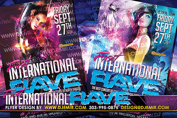 North Dakota First International Rave Flyer Design