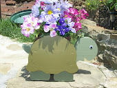 TURTLE PLANTER WITH FLOWERS