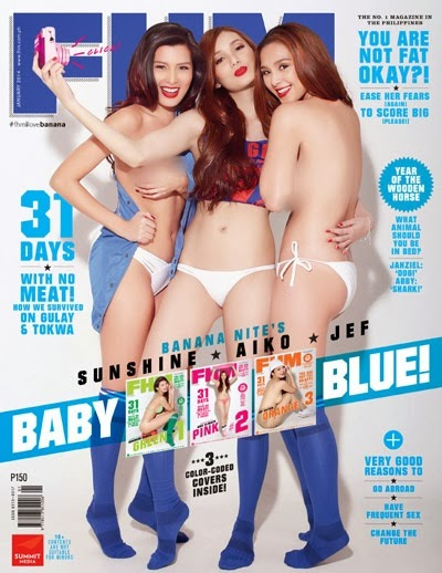Banana Nite girls Aiko Climaco, Jef Gaitan and Sunshine Garcia on the cover of FHM January 2014 issue