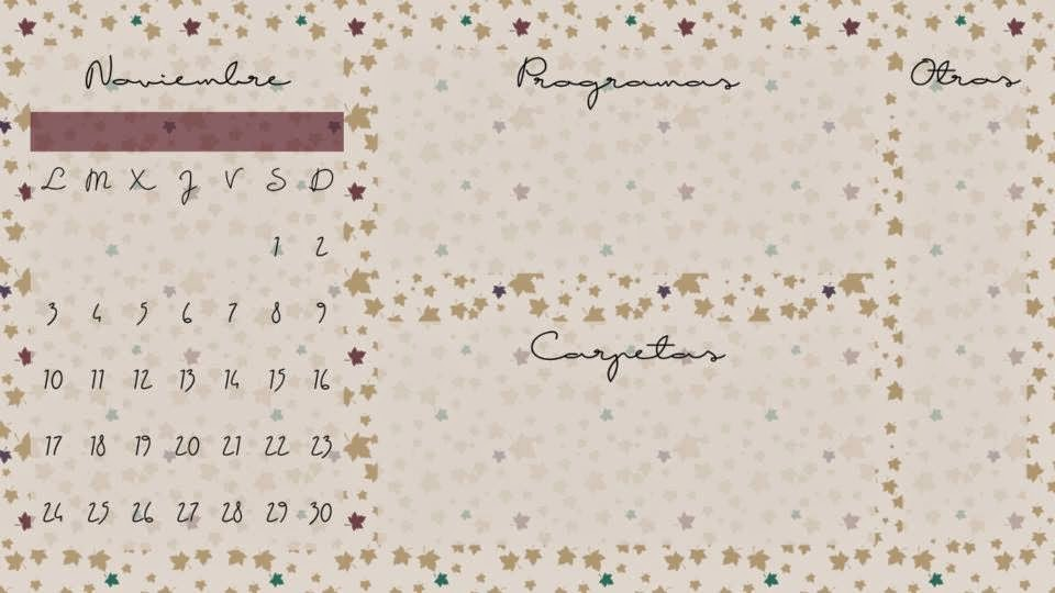 Fondo de escritorio calendario Noviembre diez
