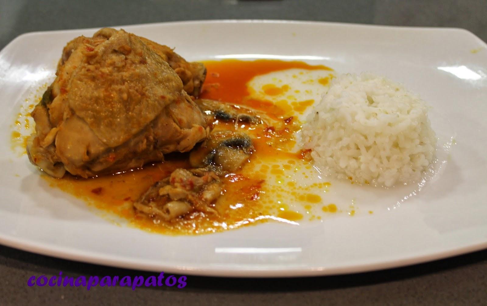 Cocina para patos pollo al chilindr n con arroz blanco al - Comidas con arroz blanco ...