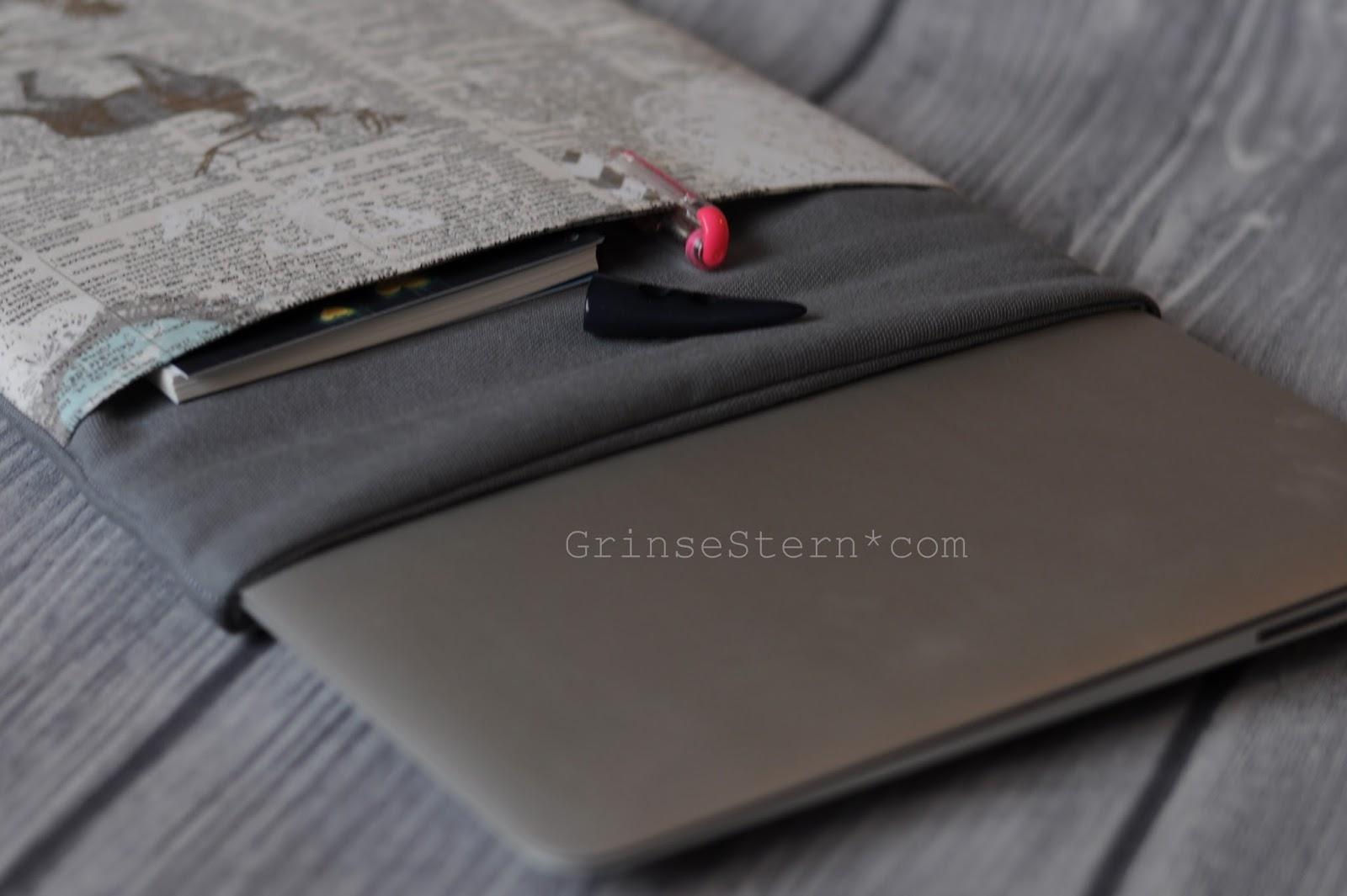 laptophülle, grinsestern, genäht