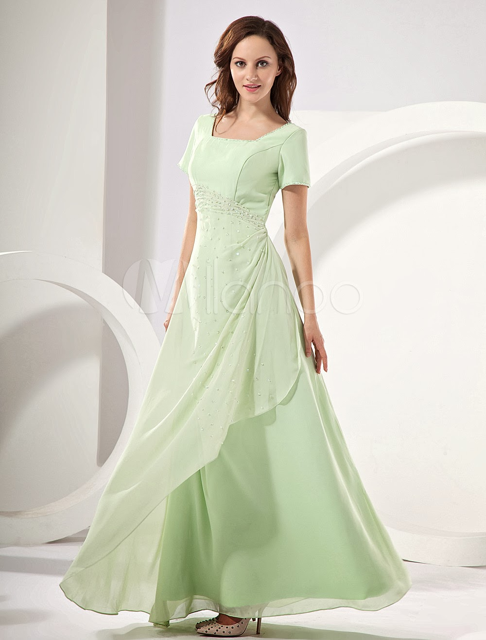 Sage Short Sleeves Chiffon Mother Of Bride And Groom Dress