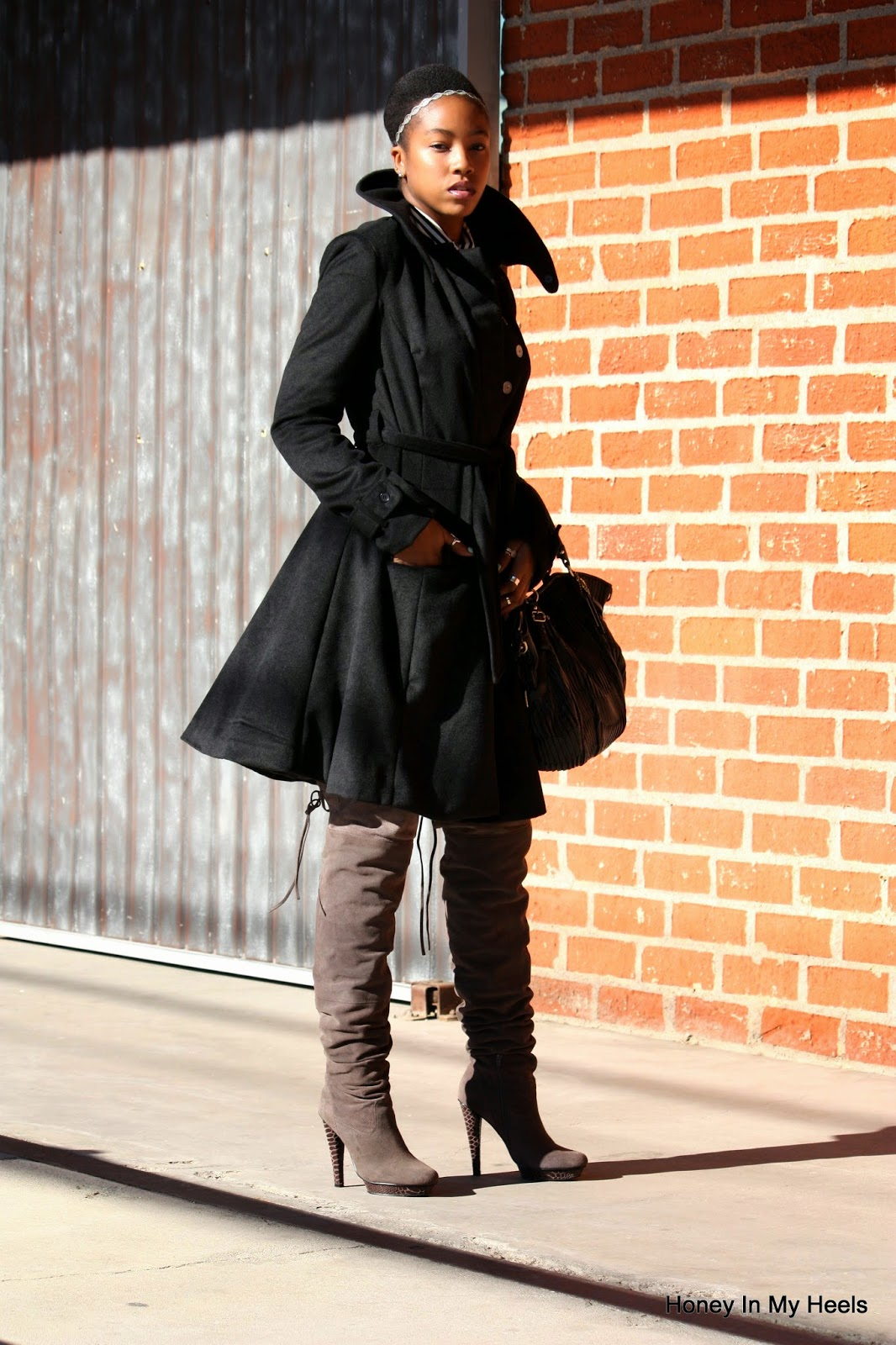 eShakti trench coat Bakers over the knee boots