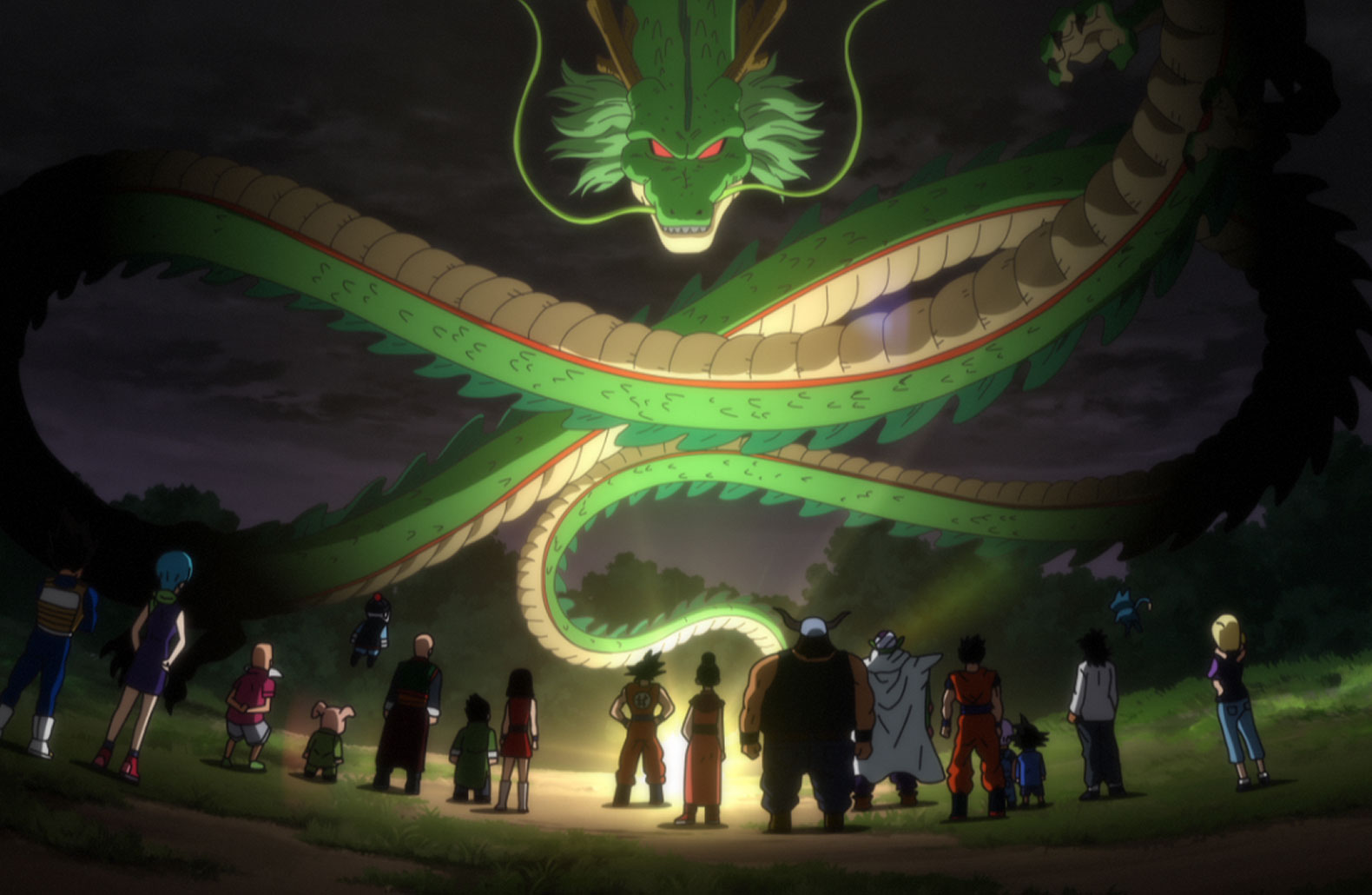 Dragon Ball Z Battle of  Gods Shenron summoned by the Goku and the gang