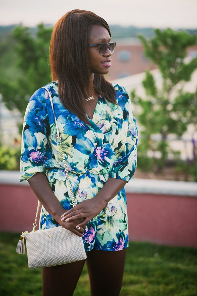 dc blogger, fashion blogger, floral romper, dress up romper, woc blogger