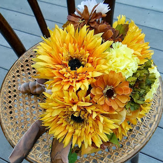 Harvest Bridal Bouquet in Orange, Yellow, & Green