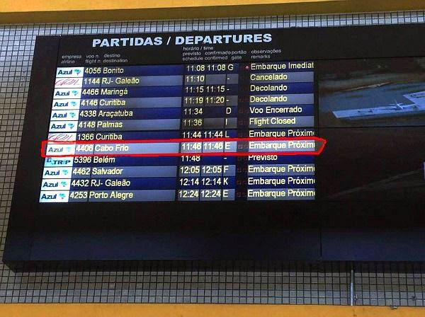 Rota dos voos diários para Campinas de Cabo Frio