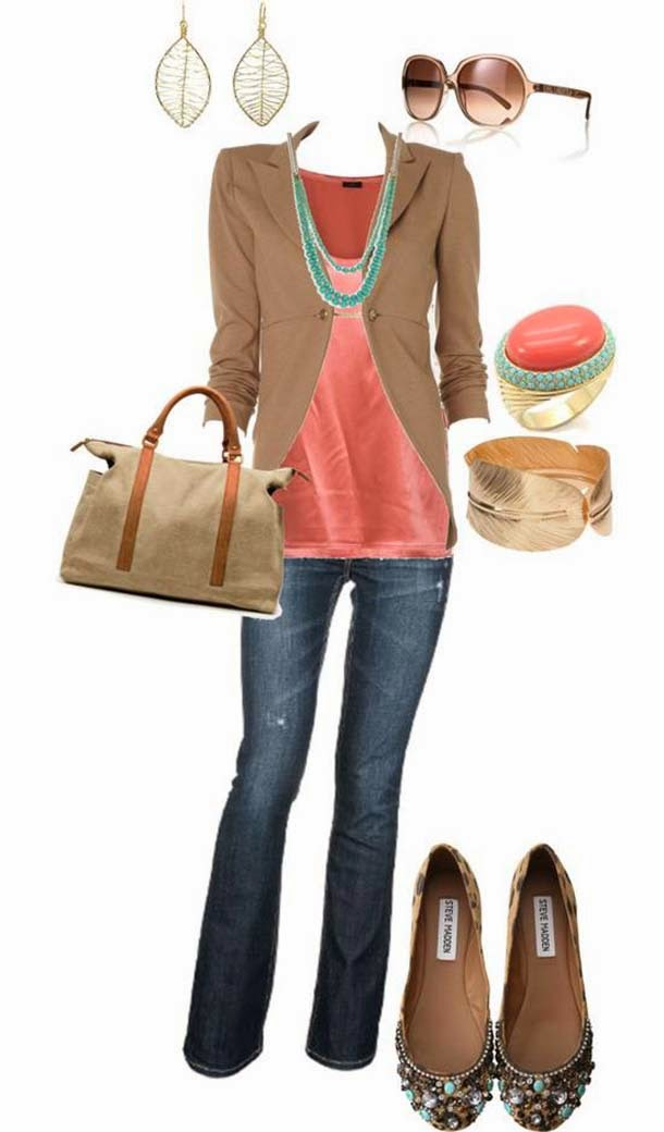 Brown blazer, pink dress and jeans combination for fall